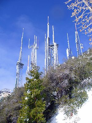 Antenna farm - Antennas on Mount Wilson, covered in ice