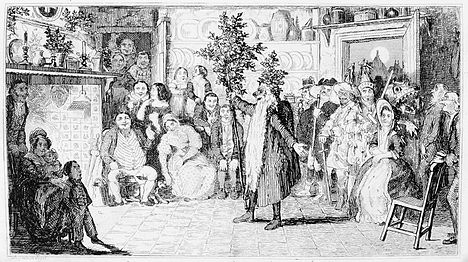 Engraving showing a hunchback Old Father Christmas in an 1836 mummers play