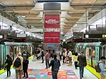 Muni Metro trains at Embarcadero station, August 2017.JPG