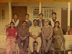 Muztar Abbasi - 1989 at PAF Lower Topa. Back Row: Azhar, Mudassar Farid. FrontRow: Miss Fareeda, Mr Abdul Hameed, Principal Ghulam Sarwar, Sir Muztar Abbasi, Miss Sultana.