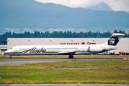 N976AS MD-83 Alaska Airlines YVR 09JUL04 (6774010120).jpg
