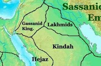 Arab identity - Near East in 565, showing the Ghassanids, Lakhmids, Kindah and Hejaz.