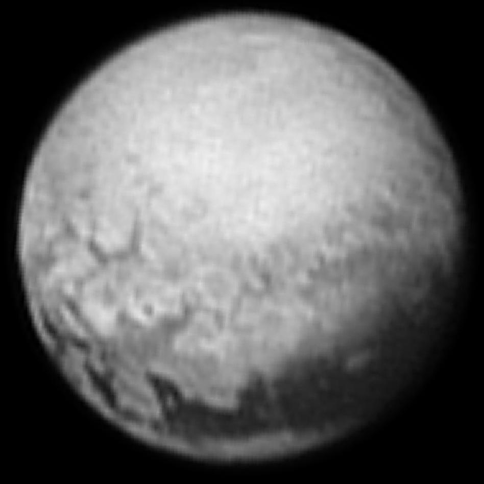Pluto fotograferad av New Horizons (9 juli 2015)