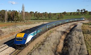 High-speed rail in Australia - An XPT on the Melbourne-Sydney run. Despite plans to cut down travel times along the line, the one-way travel time currently stands at 11 hours