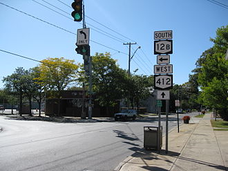 New York State Route 12B - NY 12B southbound at the junction with NY 412 west in the village of Clinton
