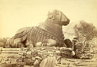 Nandi (bull) - 17th Century sculpture of a Nandi in Mysore.