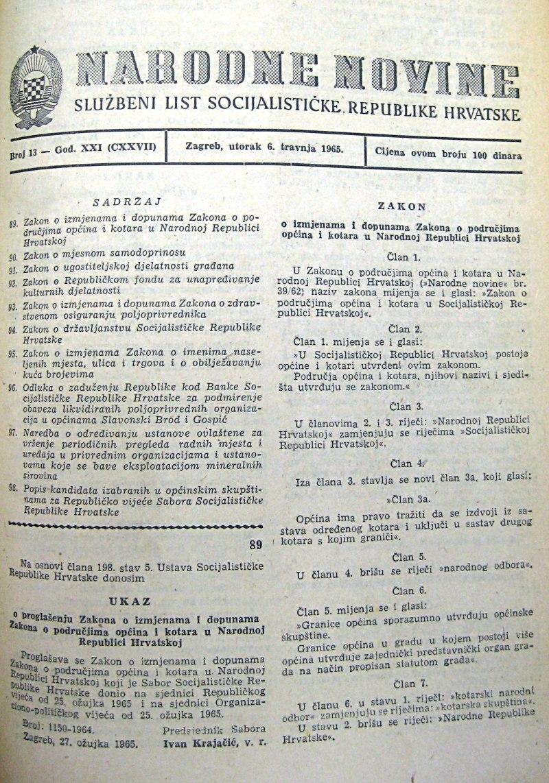 Narodne novine 6 travnja 1965