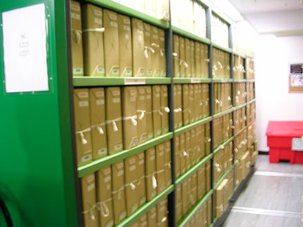 Moveable shelving in one of the more modern repositories