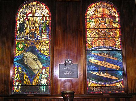 Memorial windows for the first three HMA Ships Sydney (right) and the carrier HMAS Melbourne (left) Naval Chapel GI Mel-Syd.JPG