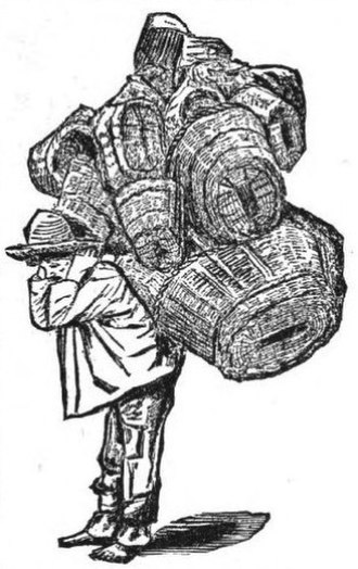 Basketry of Mexico - Drawing of a man carrying baskets, dated 1888