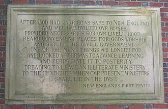 John Harvard (clergyman) - Image: New England's First Fruits plaque, Harvard University IMG 8969