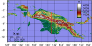 Topographical map of New Guinea.