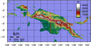 Topographic map of New Guinea. Created with GM...