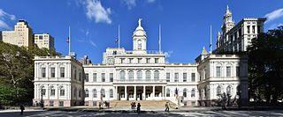 New York City Hall municipal building in New York City, New York, USA