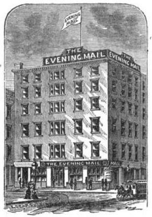 New York Evening Mail - New York Evening Mail at 34 Park Row in 1872, the former site of Lovejoy's Hotel.