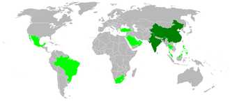 Institute of Economic Growth - The countries in green are considered to be newly industrialising nations. China and India (in dark green) are special cases.