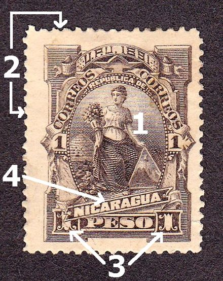 The main components of a stamp: 1. Image 2. Perforations 3. Denomination 4. Country name Nicaragua1 1913.jpg