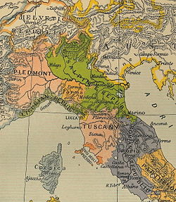 The Cisalpine Republic (green) in 1799.