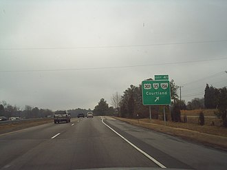 Templeton, Virginia - Northbound Interstate 95 approaching the exit for Templeton. Courtland is located southeast of this view along VA 35.