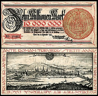 Notgeld - Notgeld - Zehn Million Mark from Trier, Germany (1923), view of Trier. Design by Fritz Quant, after a copperplate print by Matthäus Merian (1646)
