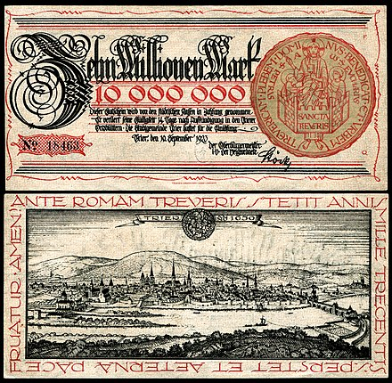 Notgeld - Zehn Million Mark from Trier, Germany (1923), view of Trier. Design by Fritz Quant, after a copperplate print by Matthäus Merian (1646)