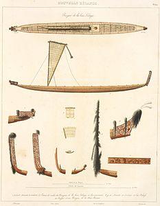 Nouvelle Zelande. Pirogue de la baie Tolaga ... pirogue de la baie Bream by Edmond Francois Paris & Laurent, 1827.jpg