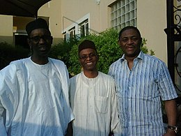 Photo showing Mallam Nasir Ahmad El-Rufai in the middle. To his right is Mallam Nuhu Ribadu, and to his left is Chief Femi Fani-Kayode.