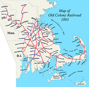 Old Colony Railroad - Map of Old Colony Railroad network, about 1893