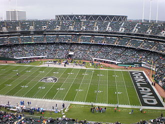 Oakland–Alameda County Coliseum - Oakland Alameda Coliseum before a football game.