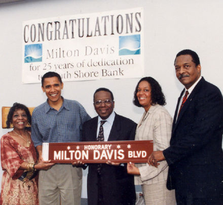 State Senator Obama and others celebrate the naming of a street in Chicago after ShoreBank co-founder Milton Davis in 1998 Obamamiltondavis1.jpg