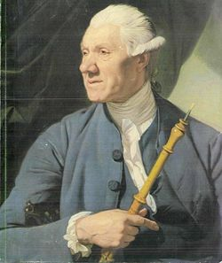 Oboísta sujetando un oboe clásico. Se puede apreciar el detalle de la caña primitiva, mucho menos elaborada. Retrato de 1770 atribuido a Johann Zoffany (1733–1810). Smith Zollege Museum of Art, Northampton, Mass.
