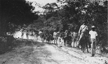 United States Marines and a Haitian guide patrolling the jungle in 1915 during the Battle of Fort Dipitie Occupation of Haiti.jpg