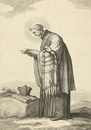 Frederik Bloemaert - Saint Odulphus, engraving from ca. 1630 after a painting by Abraham Bloemaert.