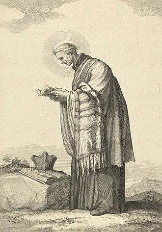 Frederik Bloemaert - Saint Odulphus, engraving from ca. 1630 after a painting by Abraham Bloemaert.
