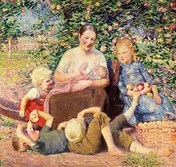 Woman with children under the apple tree (Motherhood).