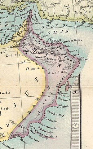 Al Batinah Region - Image: Oman 1879 map (cropped from original atlas page)