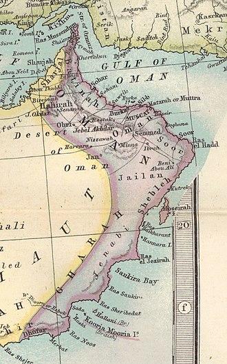 Al Batinah Region - Image: Oman 1879 map (cropped from original atlas page)