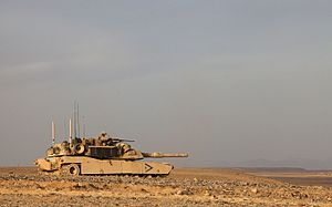 Overwatch (military tactic) - A U.S. Marine Corps M1A1 Abrams tank assigned to Delta Company, 1st Tank Battalion, provides overwatch security in support of Operation Dynamic Partnership in Shurakay, Helmand province, Afghanistan, 12 February 2013.