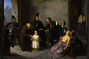 The Kidnapping of Edgardo Mortara, painting by Moritz Daniel Oppenheim, 1862. This depiction departs significantly from the historical record of how Mortara was taken—no clergy were present, for example.
