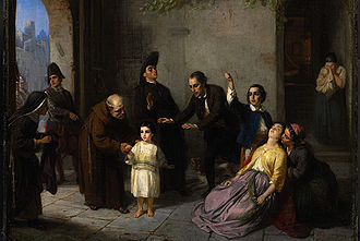 Moritz Daniel Oppenheim - The Kidnapping of Edgardo Mortara (1862)