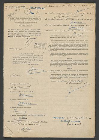 European Coal and Steel Community - Image: Oprichtingsverdrag EGKS NL Ha NA 2.02.20 10123