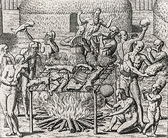 Taboo - Cannibalism, Brazil. Engraving by Theodor de Bry for Hans Staden's account of his 1557 captivity.