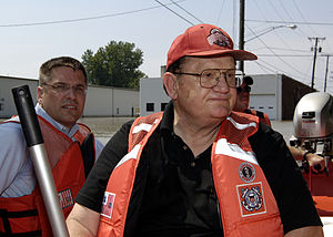 Paul Gillmor - Paul Gillmor tours flood-ravaged Ottawa, Ohio 12 days before his accidental death.