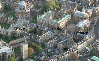 Hertford College, Oxford - Aerial photograph of Oxford with Hertford College marked: showing the 3 quads (OB, NB and HW), the Chapel, Hall, Bridge and Octagon