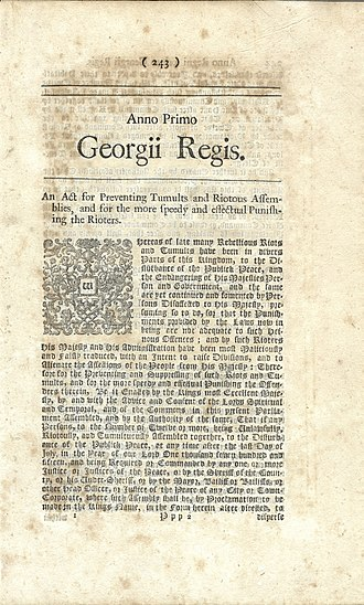 "Riot Act - First page of the Riot Act, first edition (London, 1715), with heading (caption title) ""An Act for Preventing Tumults and Riotous Assemblies, and for the more speedy and effectual Punishing the Rioters"", one of six copies known. English Short-Title Catalogue (ESTC.BL.uk) no. N53655"