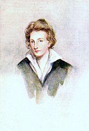 Ritratto ad acquarello di Shelley (1822)