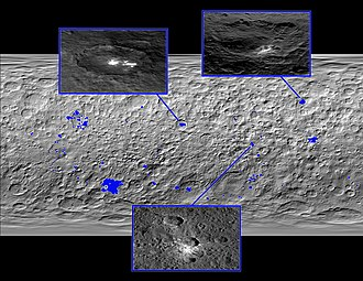 Bright spots on Ceres - Map of bright spots on Ceres (released 10 December 2015).