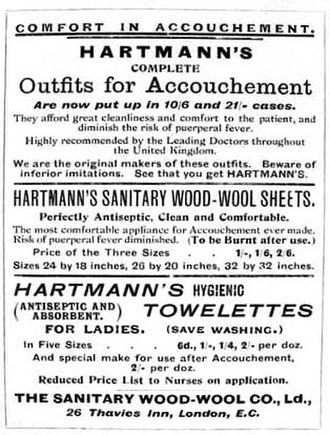 """Sanitary napkin - An advertisement poster for Hartmann's pads, dated circa 1900. """"Accouchement"""" means childbirth, and """"puerperal fever"""" is a postpartum infection."""
