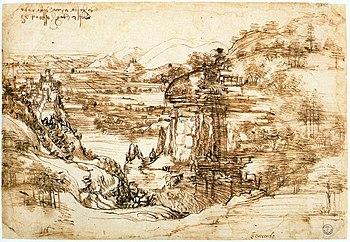 Leonardo da Vinci: Arno landscape