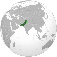 Area constituting Pakistan in dark green; claimed but uncontrolled territory in light green